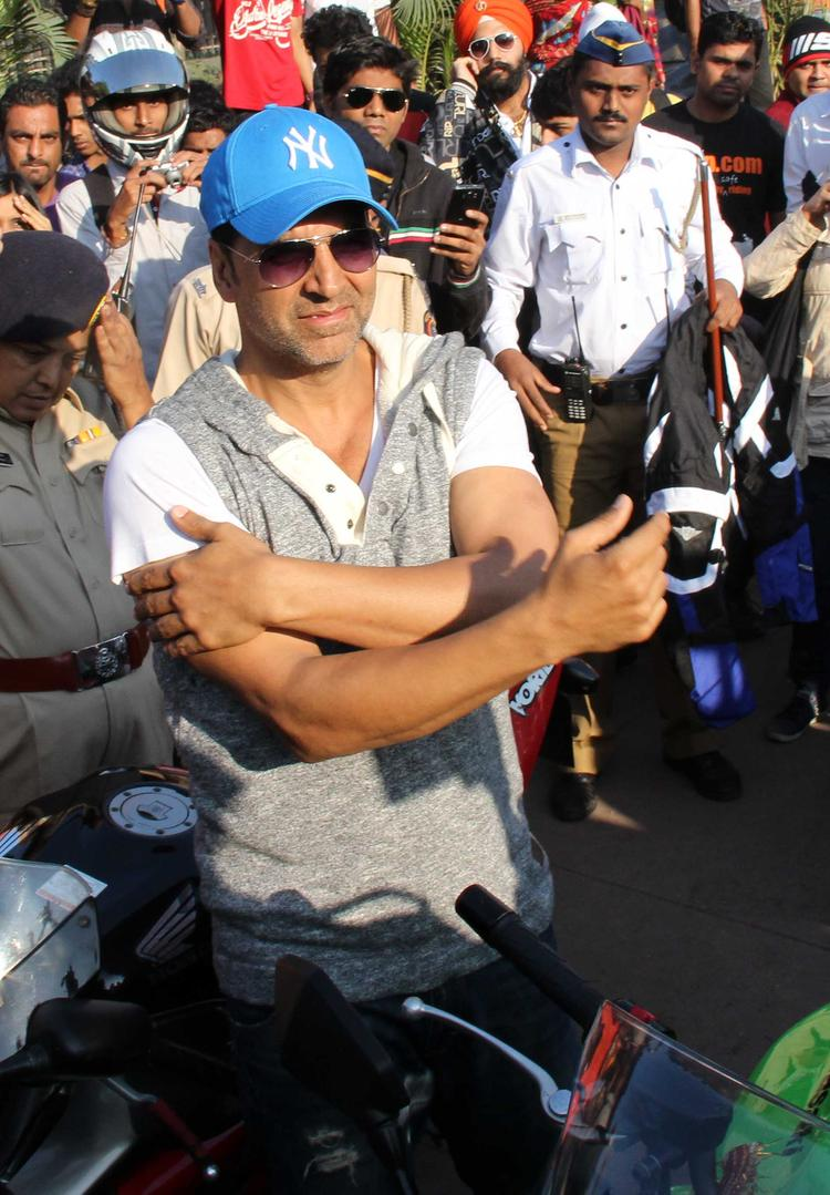 Bollywood Star Akshay Kumar Spotted At Ride For Safety Bike Rally Event