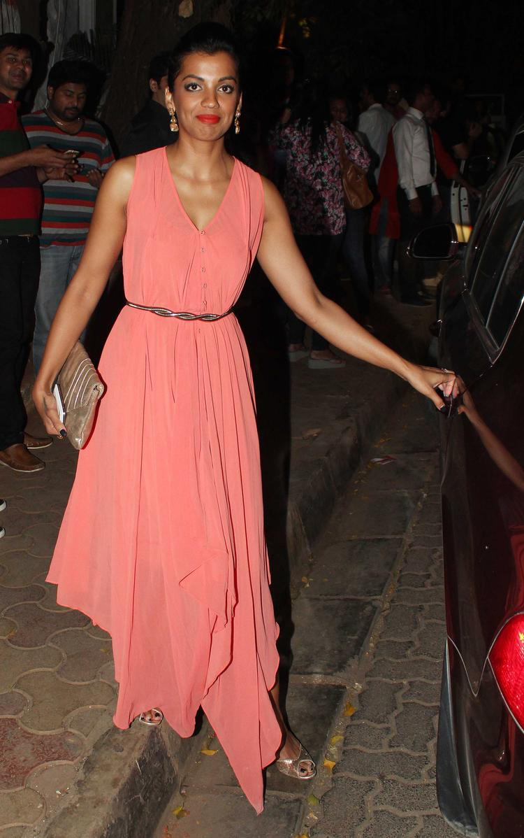Mugdha Godse Trendy Look In Gown During The Vikas Bahl Birthday Bash