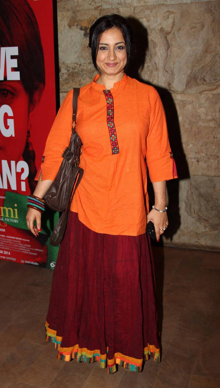 Divya Dutta Sweet Smiling Pic At Lakshmi Movie Special Screening