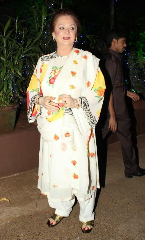 Saira Banu With A Simple Look Snapped At Dilip Kumar's Birthday Party