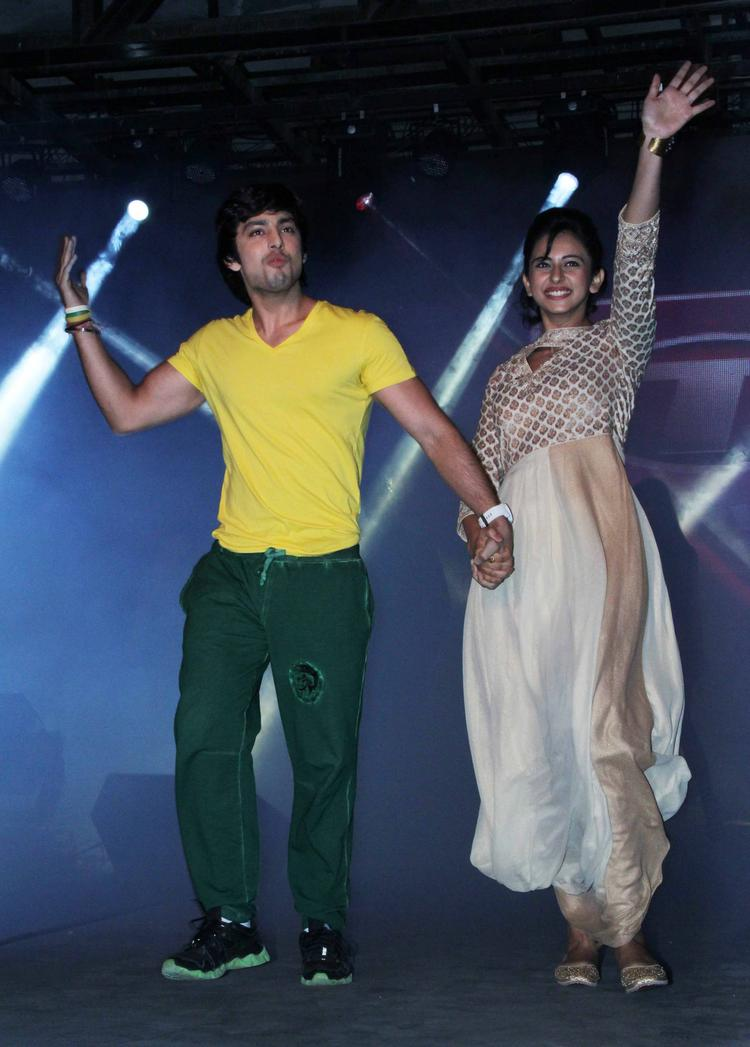 Himansh Kohli And Rakul Preet Singh On The Stage At Yaariyan Music Launch Event