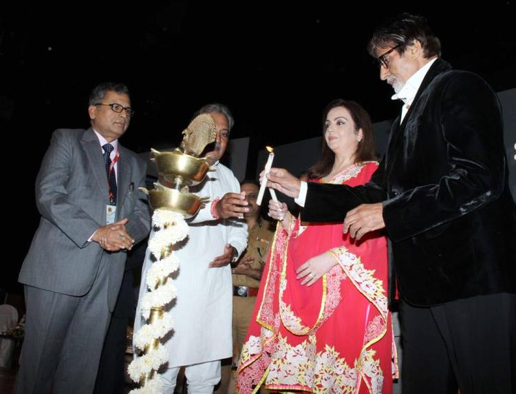 Amitabh Light The Lamp At Public Awareness Programme On Road Traffic Accident Event