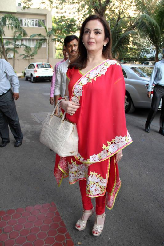 Nita Ambani Arrives For The Event In A Pretty Red Suit Public Awareness Programme On Road Traffic Accident Event