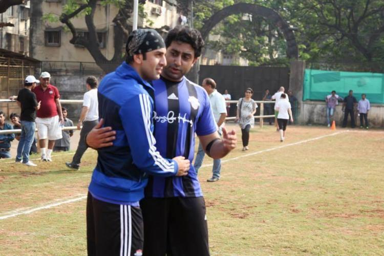 Ranbir And Abhishek Pose During The 'All Stars Football Club