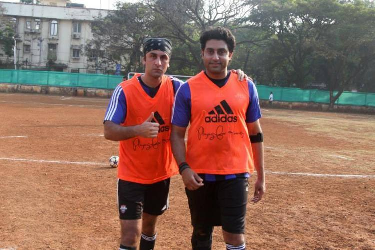 Ranbir And Abhishek Pose During The Practice Of Football Game At ASFC In Mumbai