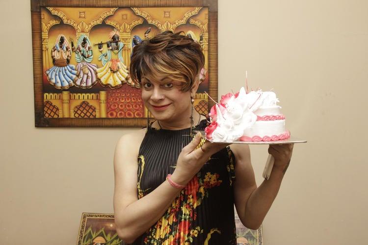 Bobby Darling Posed With Cake At Gurpreet Kaur Chadha Birthday Bash