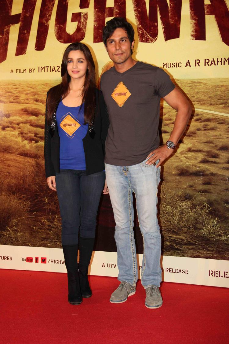 Alia Bhatt With Her Co-Star Randeep Hooda At The Trailer Launch Of Film Highway
