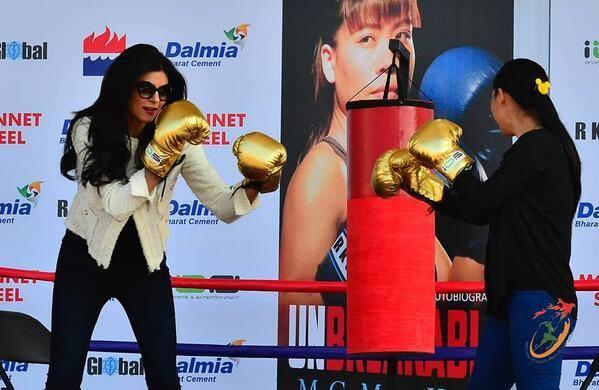 Sushmita Sen Tries Her Hand In Boxing During The Launch Of Boxer Mary Kom's Book
