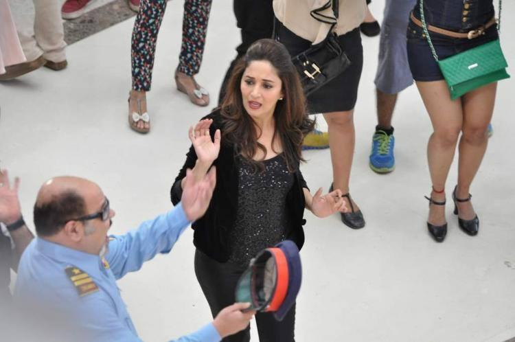 Madhuri Dixit Nene During The Oberoi Mall In Mumbai For Oral B Ad Shoot