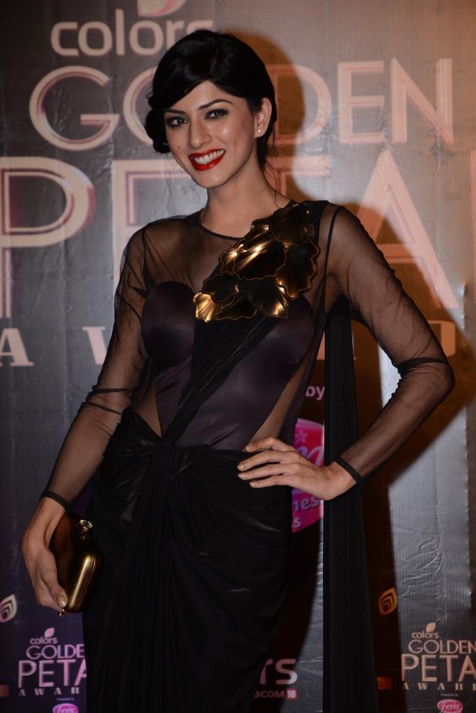 Sapna Pabbi Gorgeous Look In Red Lippy At Colors TV 3rd Golden Petal Awards 2013