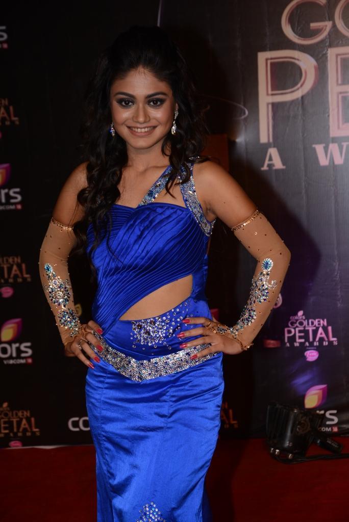 Sreejita De Classy Look In Blue Attire At Colors TV 3rd Golden Petal Awards 2013