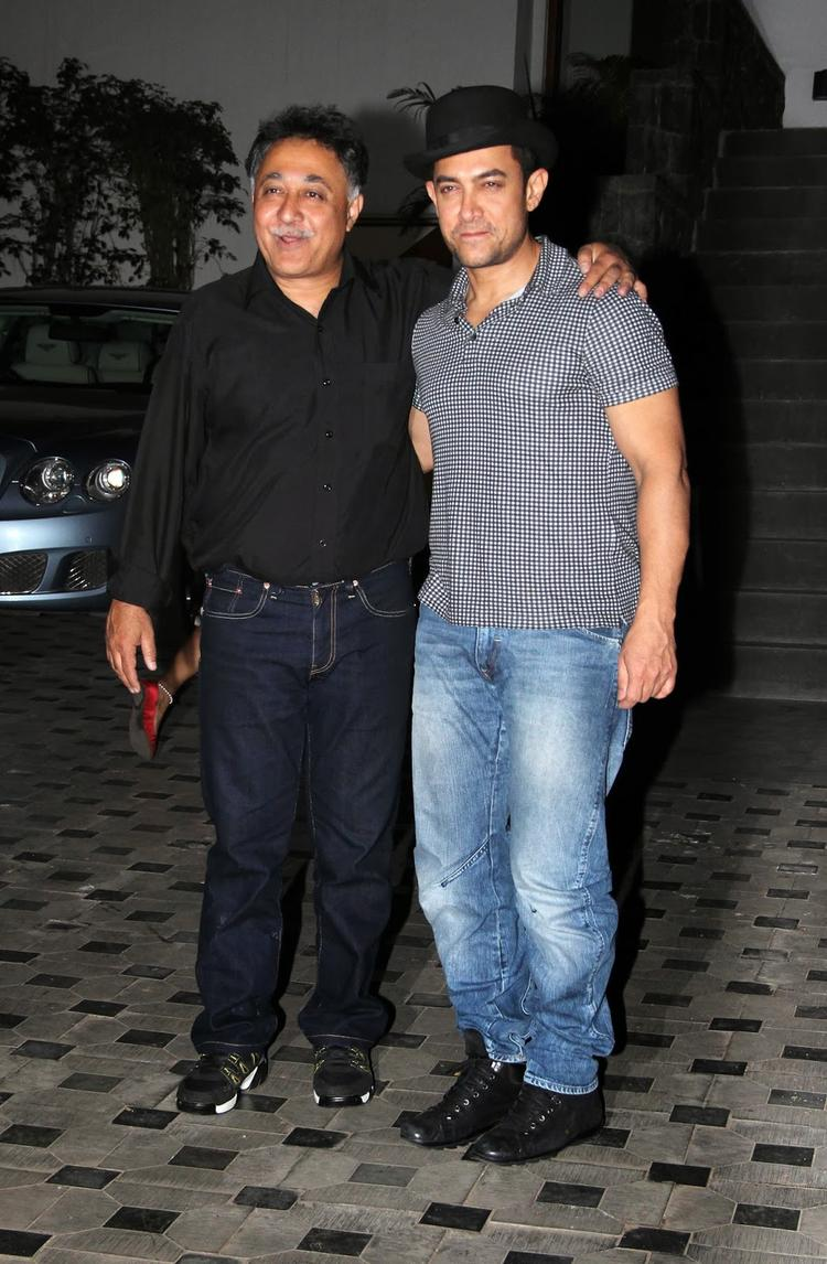 Mansoor With His Cousin Aamir Posed At At Mansoor Khan's Wedding Anniversary