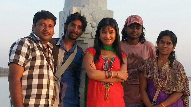 Radhika Pandit Smiling Pose On The Sets Of Bahaddur Movie