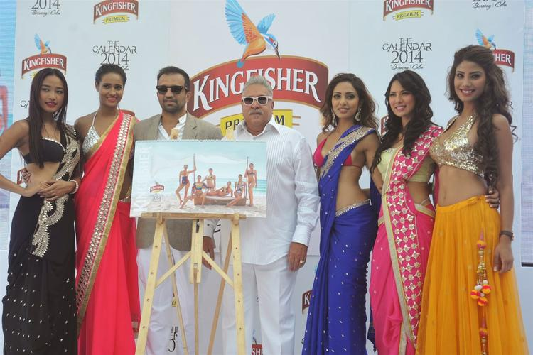 Ketho Leno,Rikee,Atul,Vijay,Sobhita,Rochelle And Nicole Posed During The Launch Of Kingfisher 2013 Calendar