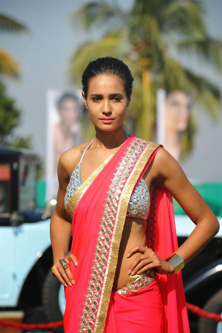 Rikee Chatarge Sizzles In Hot Pink Saree During The Launch Of Kingfisher 2013 Calendar