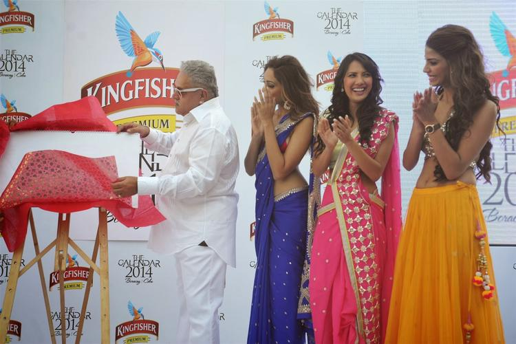 Vijay Mallya Inaugurates,Sobhita,Rochelle And Nicole Smiling Look During The Launch Of Kingfisher 2013 Calendar