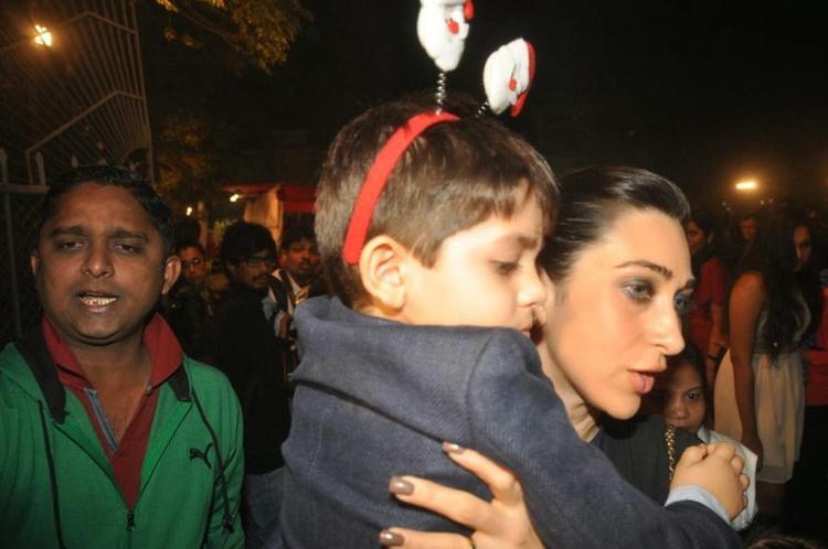Karisma Kapoor Attends Midnight Mass Along With Kids Samiera And Kiaan