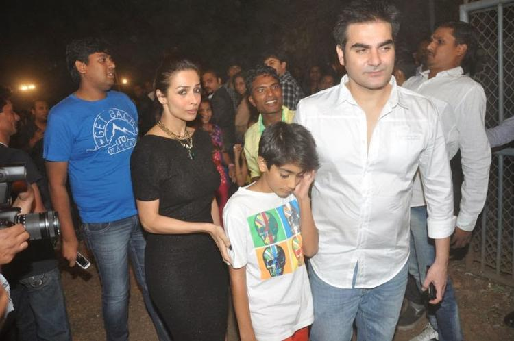 Malaika With Arbaaz And Son Arhaan Khan Spotted Attending The Midnight Mass On Christmas Eve At A Church In Mumbai