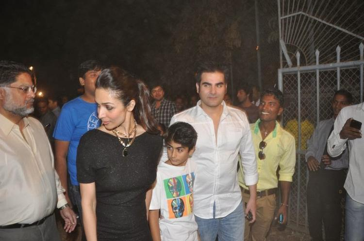 Malaika Came With Her Son And Husband Arbaaz Khan At Christmas Midnight Mass