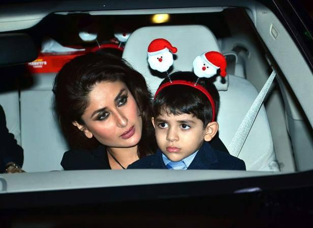 Kareena Kapoor Holds Tight To Karisma's Son Kiaan As They Arrive For The Midnight Mass