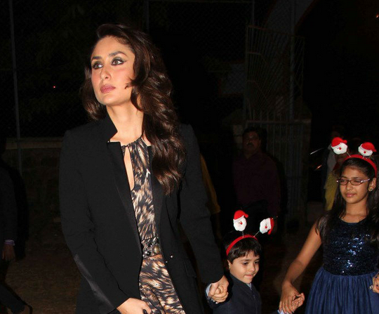 Kareena Spotted With Her Nephew And Niece At Christmas Midnight Mass Party 2013