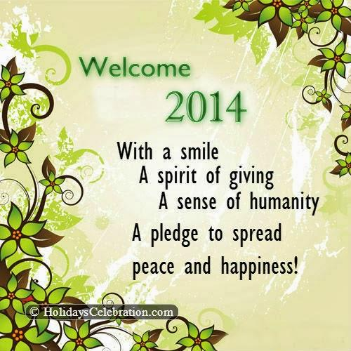 Welcome A Great, Prosperous, Blissful, Healthy, Bright And Delightful New Year Greetings Card