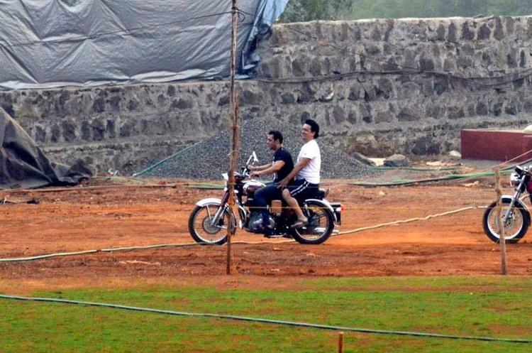 Salman And Sajid Bike Riding Pic At Salman's Farmhouse