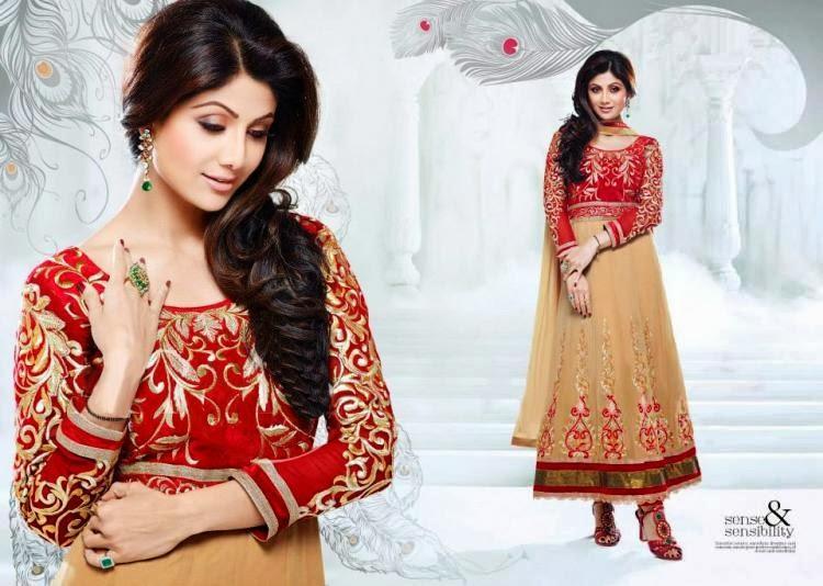 Shilpa Shetty Looks Glamour In Red Cream Deisgner Anarkali Style Long  Suit