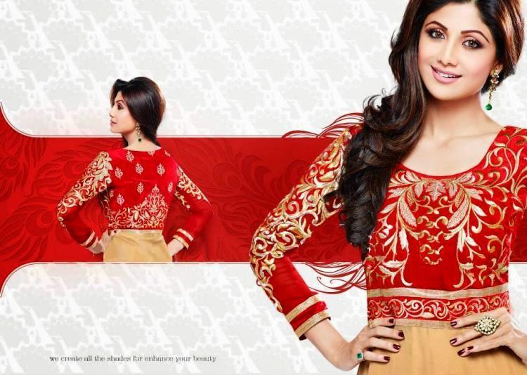 Shilpa Shetty Sexy Lips Pose Photo Shoot For New Salwar Kameez Collection
