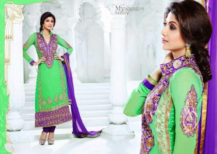Shilpa Shetty Simple Beauty Pose In Salwar Kameez Suit