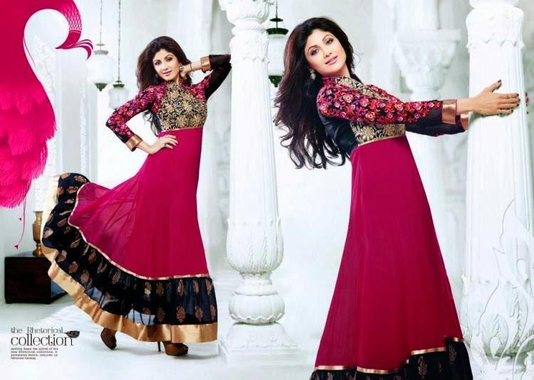 Shilpa Shetty Sweet Pose In Maroon Black Designed Anarkali Suit
