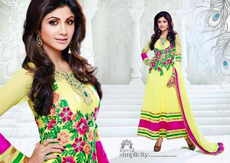 Shilpa Shetty Yellow Designer Anarkali Style Amazing Photo Shoot