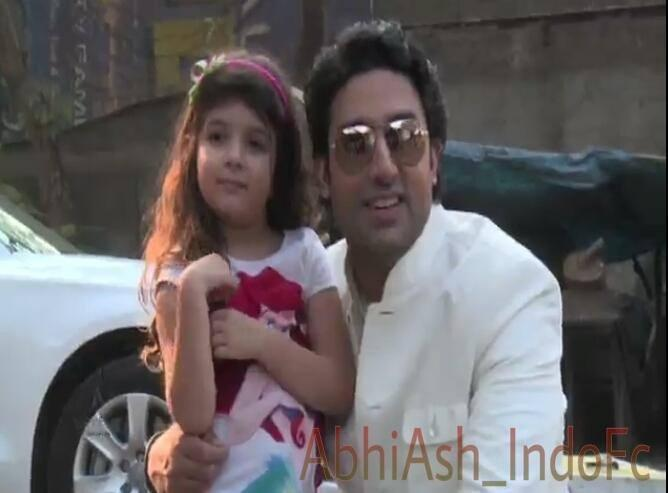 Abhishek Bachchan Cool With A Kid On The Sets Of Dabboo Ratnani 2014 Calendar Photo Shoot