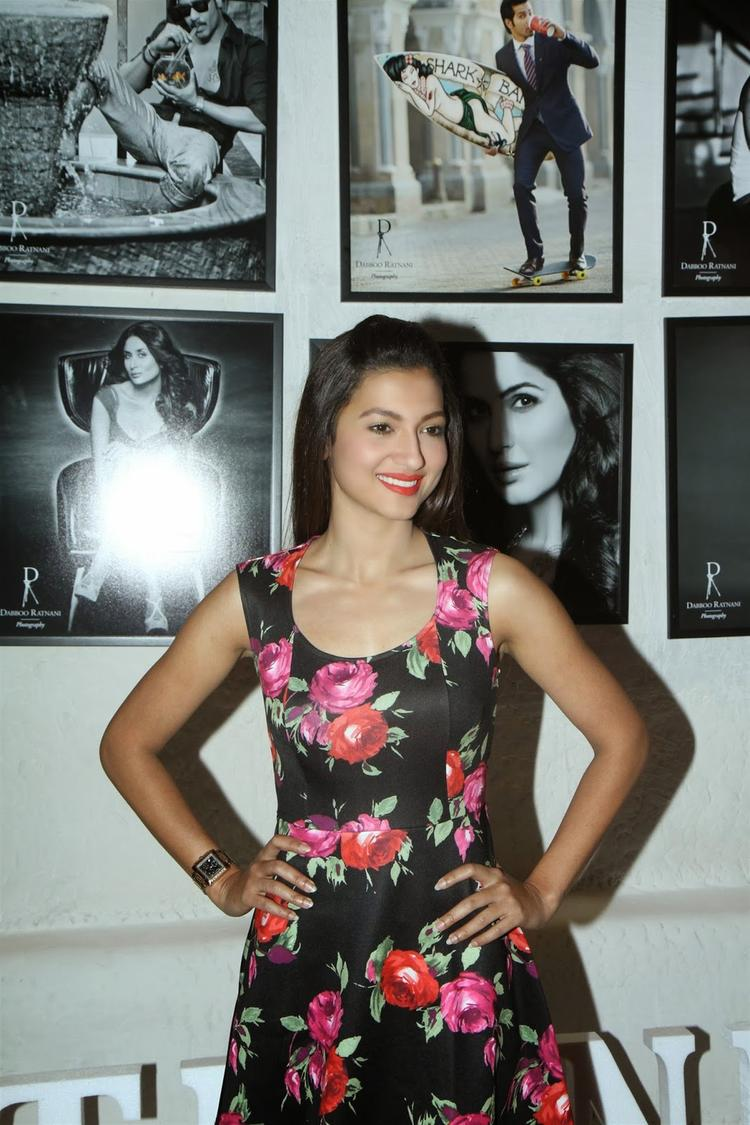 Gauhar Khan Smiling Pic During The Dabboo Ratnani's 2014 Calender Launch Event
