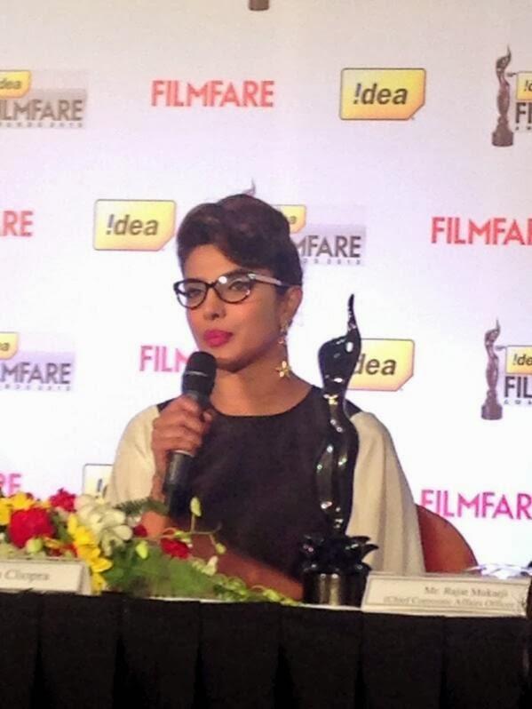 Priyanka Chopra With Chashmish Look At The 59th Idea Filmfare Awards Press Conference