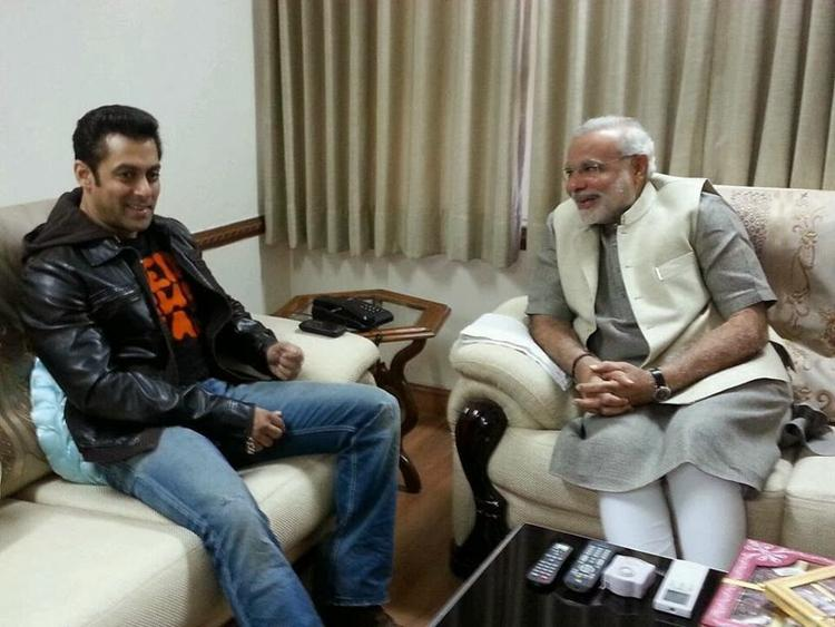 Salman Khan Cool Gossip With Narendra Modi During The Uttarayan Festival At Ahmedabad