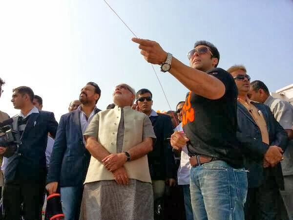 Salman Khan Flies Kite With Narendra Modi At A Kite Festival Uttarayan In Ahmedabad