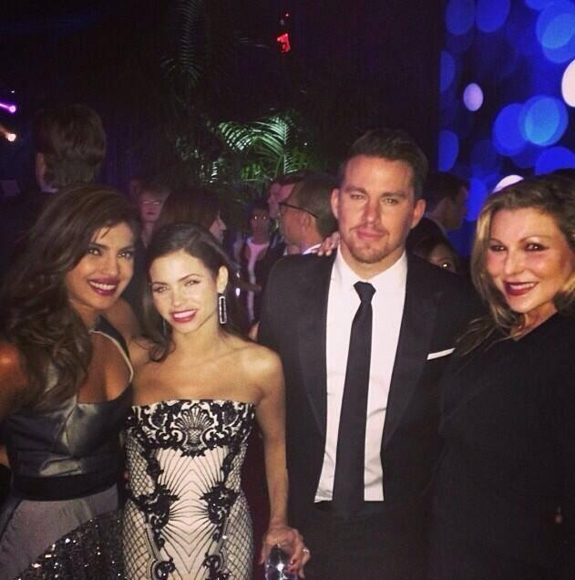 Priyanka Chopra With Hollywood Star Channing Tatum And His Wife Jenna Dewan At The 71st Annual Golden Globe Awards