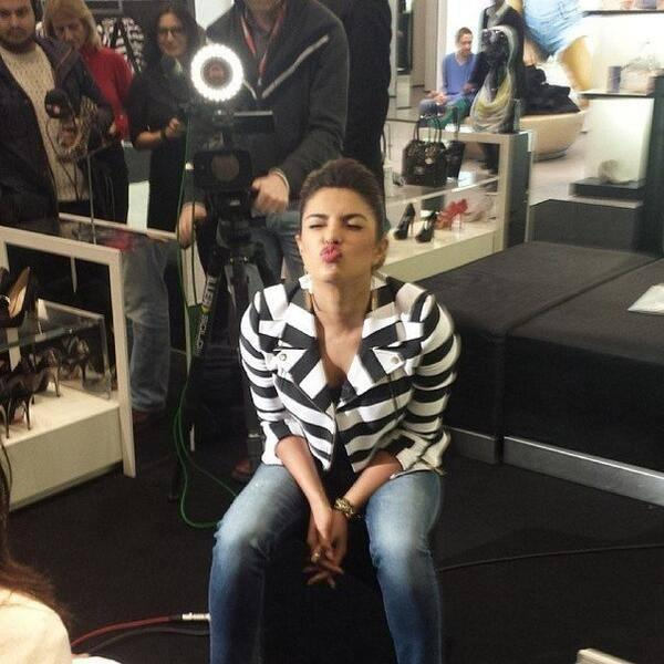 Priyanka Chopra Spicy Kiss Pose  At The GUESS Regent Street Store In London