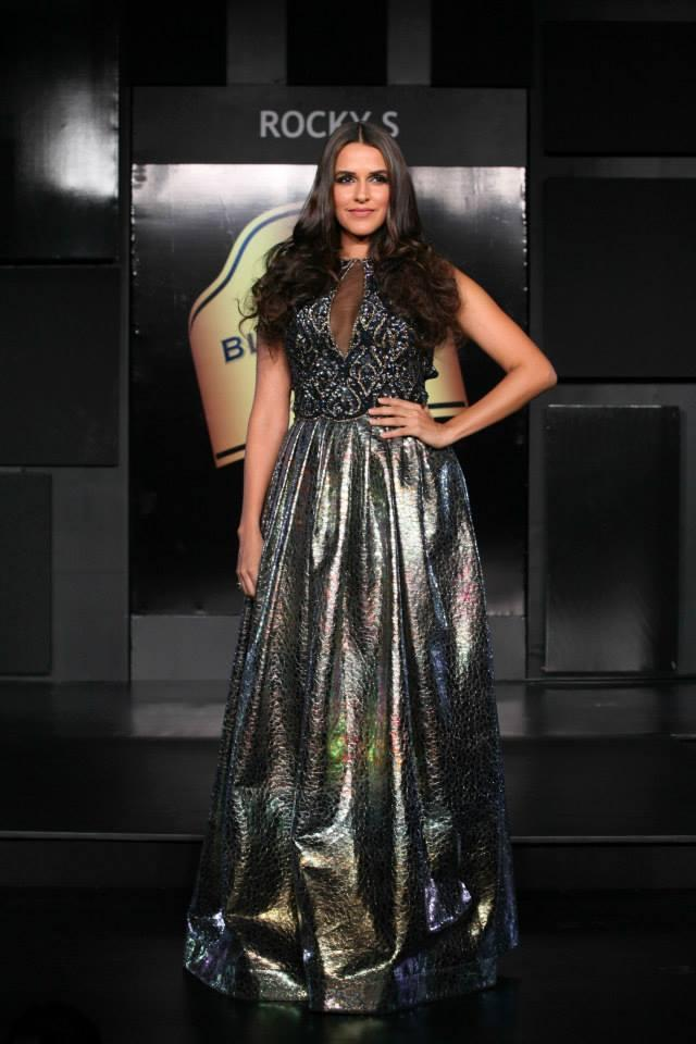 Bollywood Actor Neha Dhupia Was The Showstopper For Designer Rocky S. Showcasing A Highly Opulent Red Carpet Collection