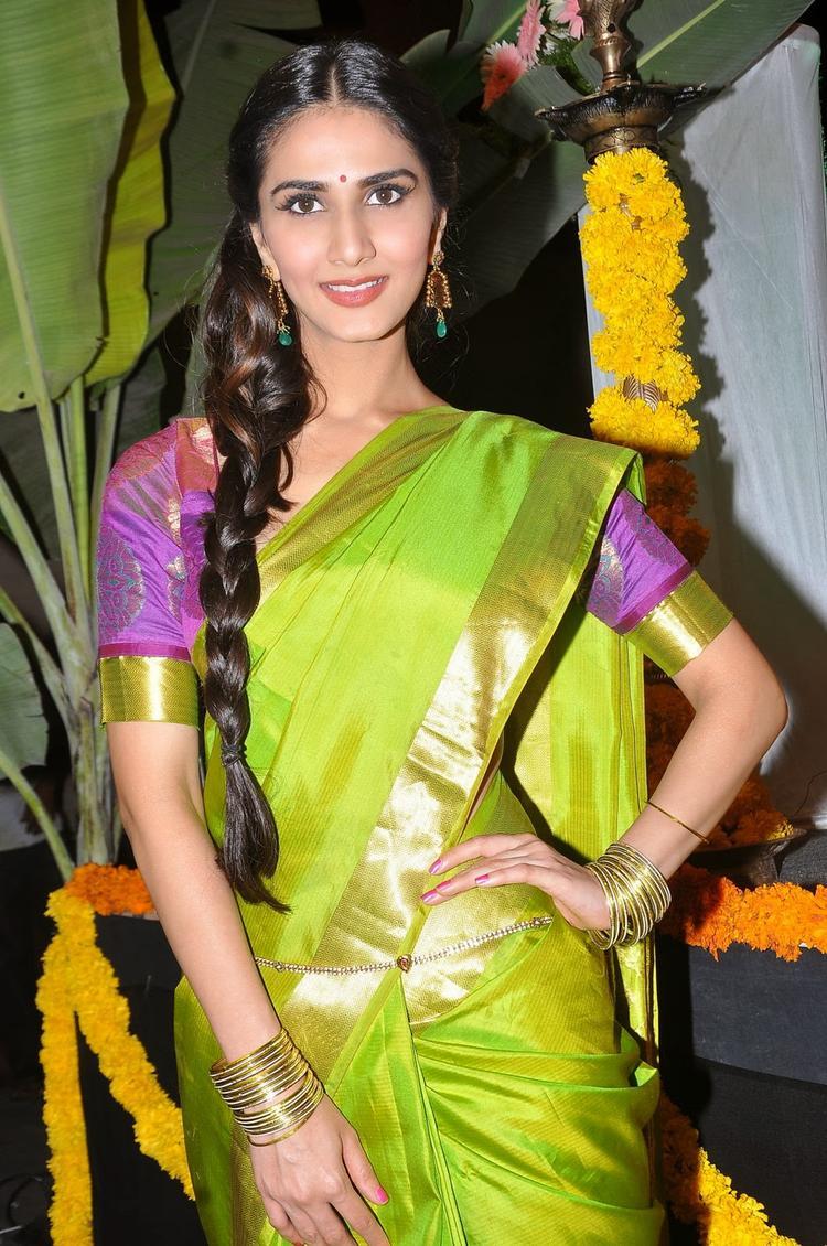 Cute Actress Vaani Kapoor Cool Look In Saree At Aaha Kalyanam Audio Launch