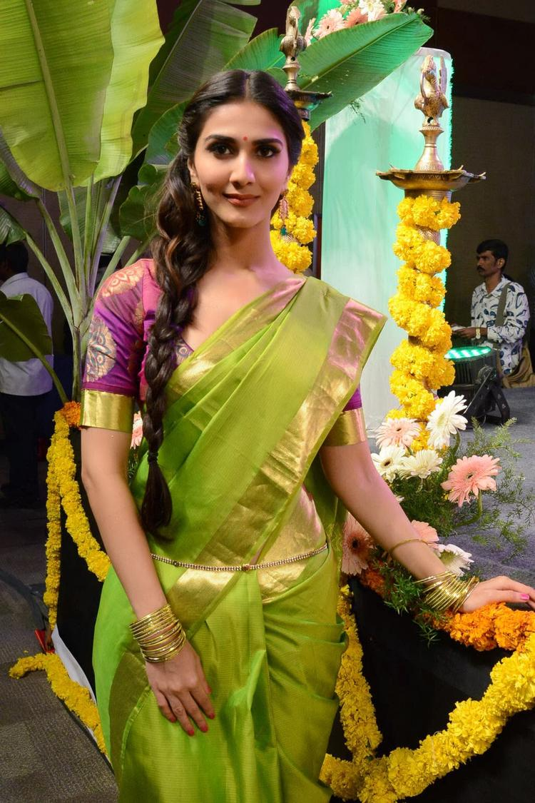 Vaani Kapoor Looks Hot In Saree At Aaha Kalyanam Audio Launch Event