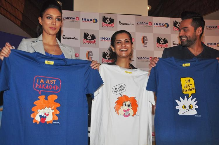 Actors Abhay  And Preeti And Director Devika Launched The 'One By Two' Merchandise At Inox Cinemas In Mumbai