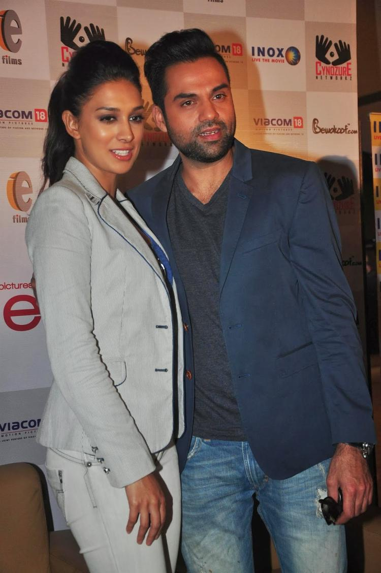 Sweet Couple Abhay And Preeti Nice Pose For Camera At One By Two' Merchandise Event