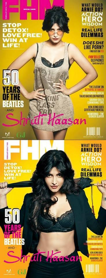 Shruti Haasan Latest Look on The Cover Of FHM India's Feb 2014