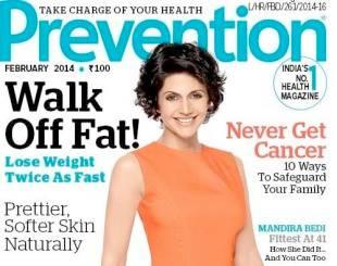 Mandira Bedi Prevention Magazine February 2014 Cover Pic