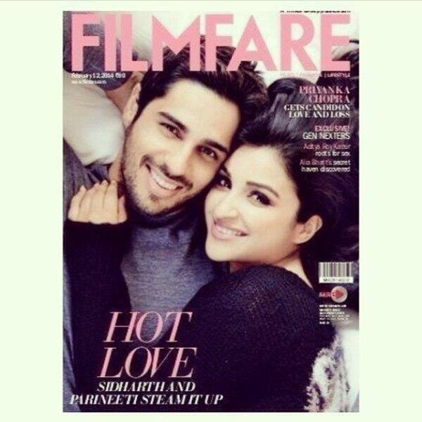 Parineeti And Sidharth Get Cozy On The Cover Of Filmfare Feb 2014