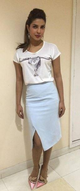 Priyanka Chopra Stylish Look In Skirt During The Promotion Of Gunday