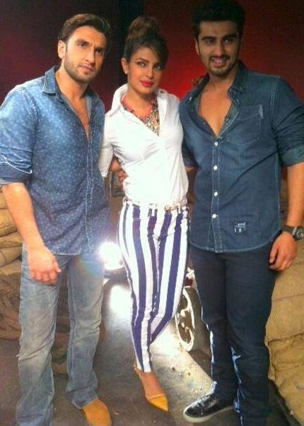 Ranveer,Priyanka And Arjun Pose For Camera During The Promotion Of Gunday