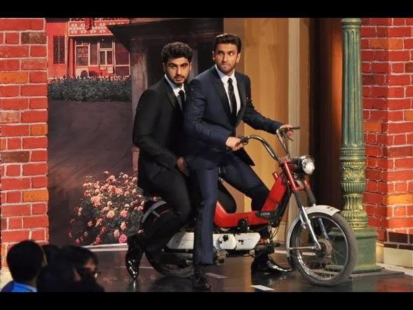 Ranveer And Arjun Arrived In Style On A Bike Which Clearly Reminds Us Of Aamir And Salman In Andaz Apna Apna